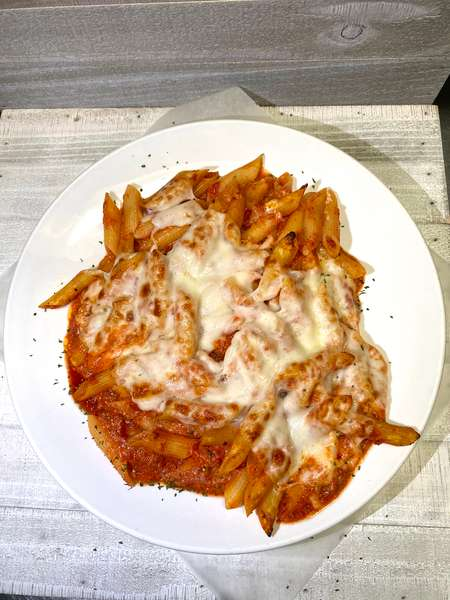 Baked pasta entrée with cheese