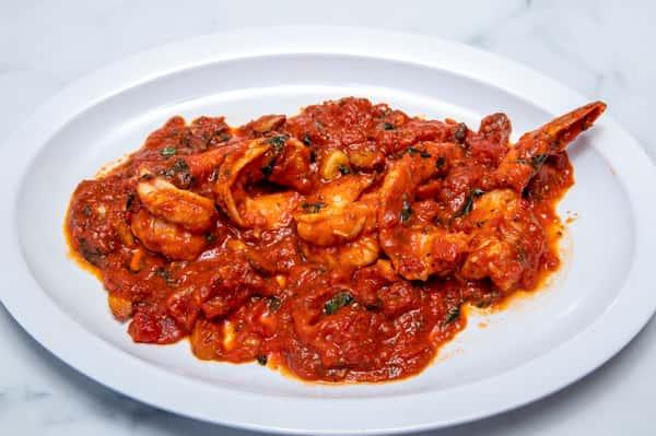 Shrimp Marinara Over Linguini