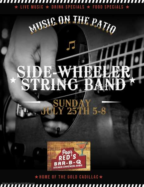 Music on the Patio: Side-Wheeler String Band, July 25th, 5pm-8pm