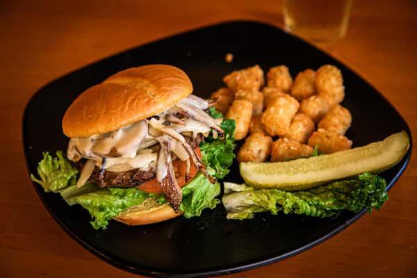Grilled Mushroom & Onion Burger