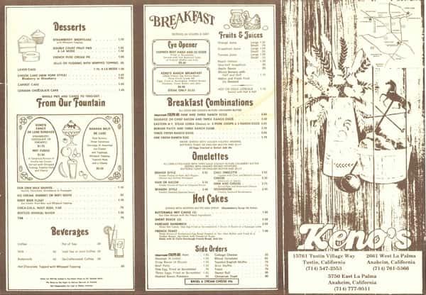 old kenos menu