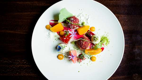 Entree with fruit