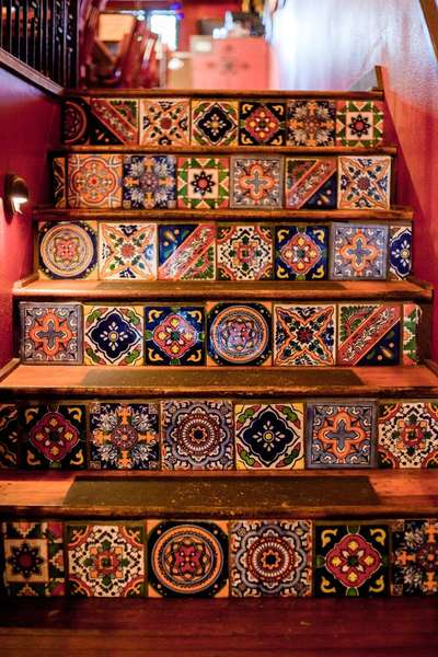 mexican tiles on stairs