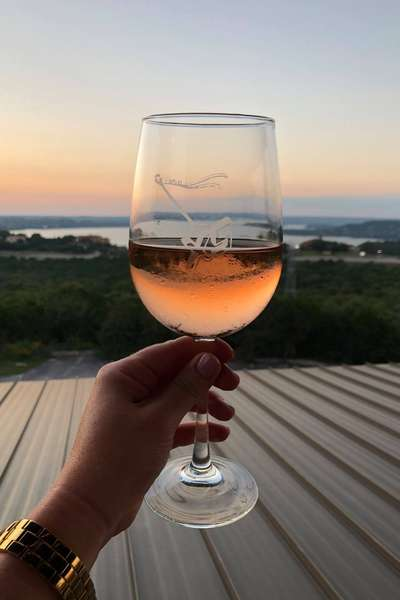 Wine glass with sunset