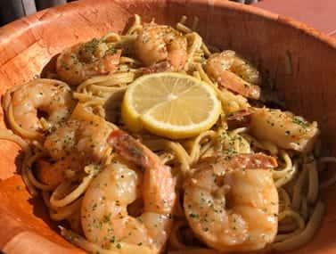 shrimp and lemon slice