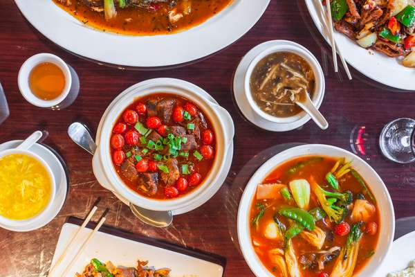 Table of Chinese dishes