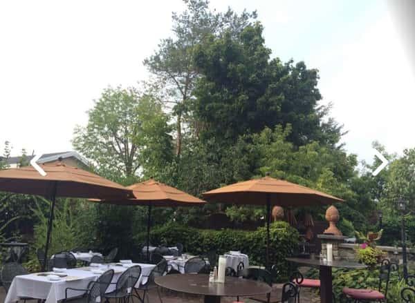 patio with umbrellas