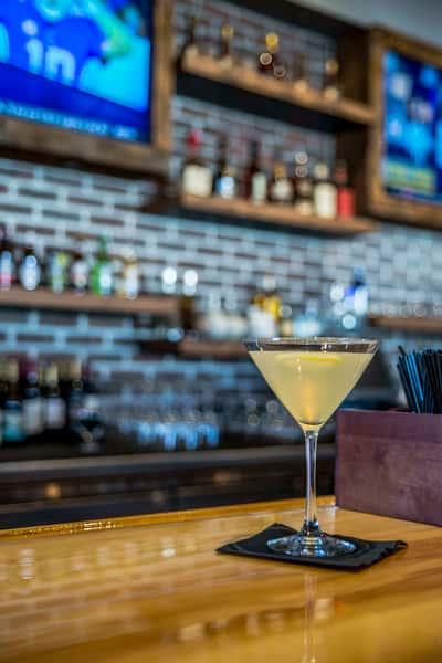 lemon martini at the bar