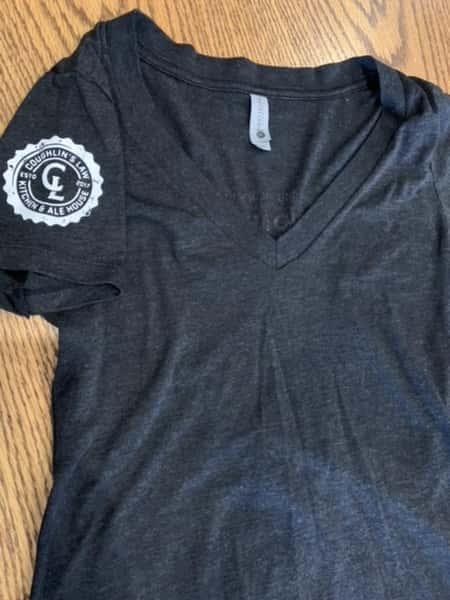 Ladies Vintage Black V-Neck Shirt
