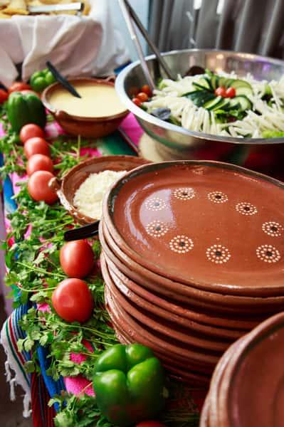 plates and salad