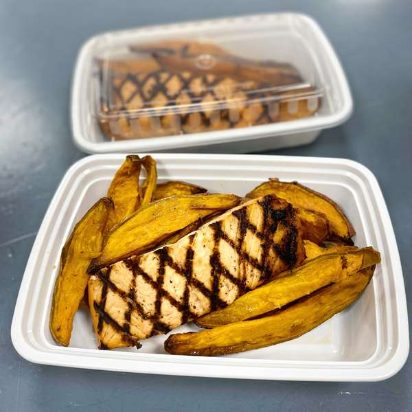 Grilled Salmon with sweet potato wedges