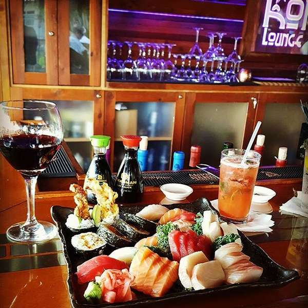 sushi and drinks