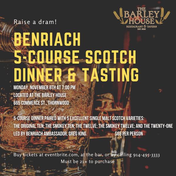 Benriach 5 course Scotch Dinner & Tasting