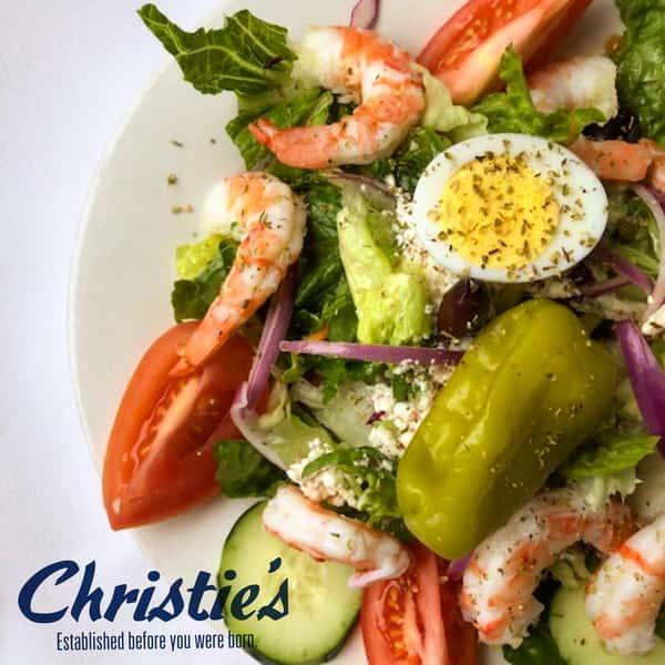 Large Greek Salad (shown with added shrimp)