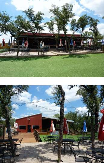 Multiple photos of the exterior of the party barn and outdoor rental space