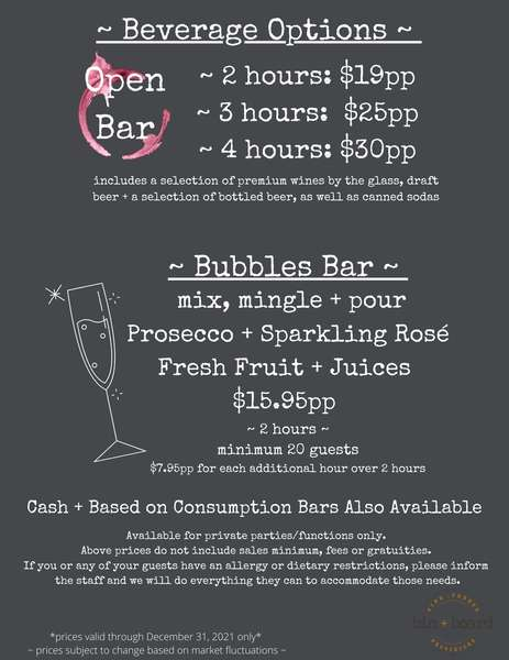 Beverage Options ~ Private Events