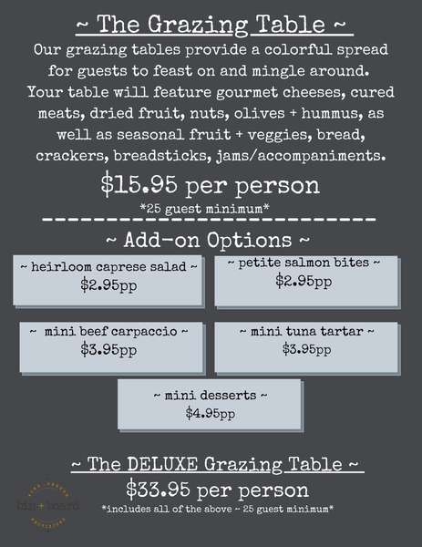 Grazing Table + Add-on Options ~ Private Events