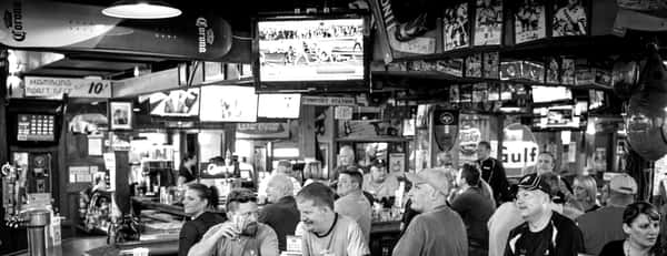 black and white picture of bar