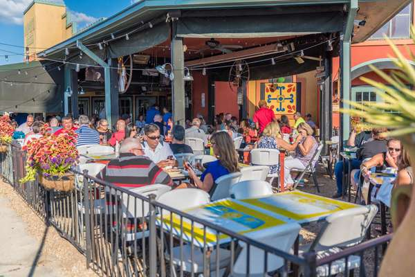 Many customers eating at Margarita Grill's outdoor dining