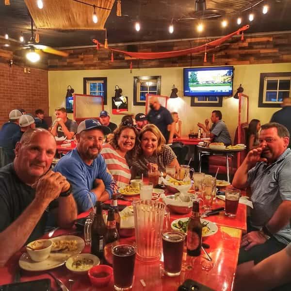 Customers enjoying interior dining