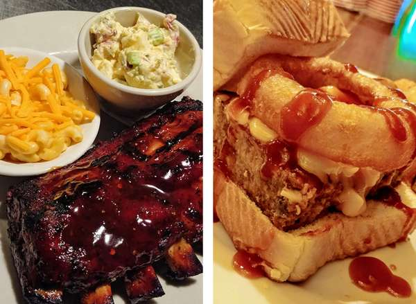 Image of bbq ribs and a meatloaf sandwich