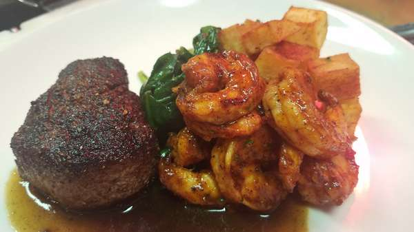 Blackened Beef Tenderlion and Lousiana BBQ Shrimp