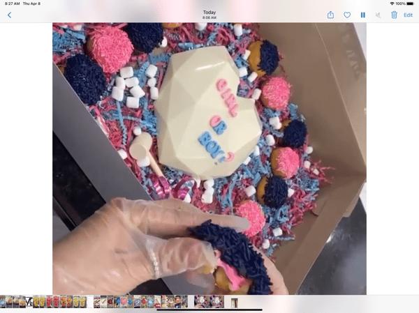 Gender Reveal Heart + Mini Donuts