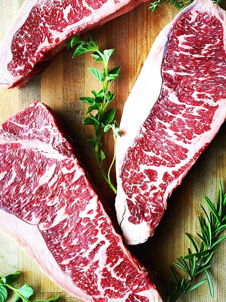 raw NY steak
