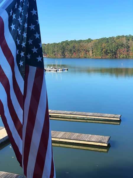 lake and flag