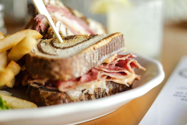 Ruben on Marbled Rye with French Fries
