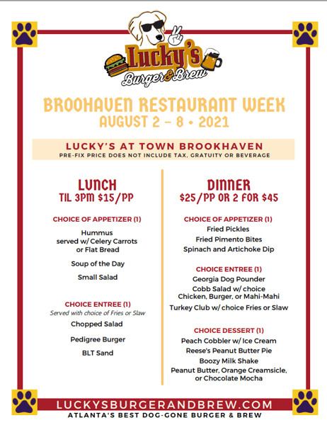 Brookhaven Restaurant Week at Lucky's Brookhaven