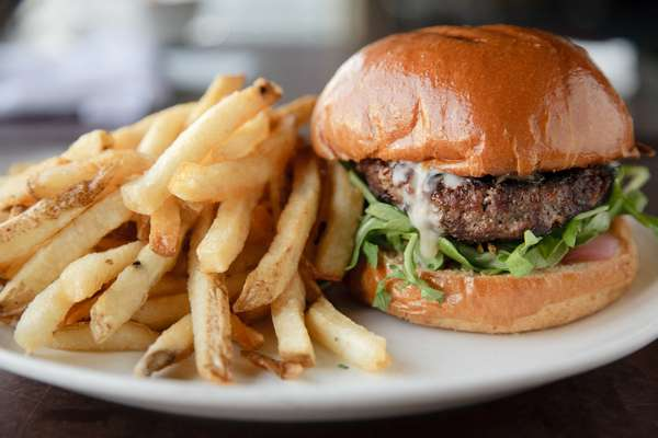 york cheddar burger and fries