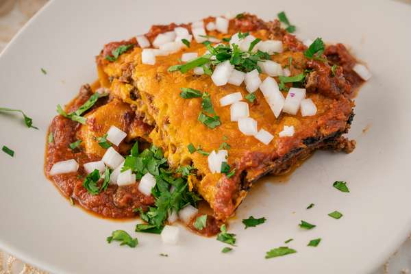 Stacked Beef & Cheese Enchiladas