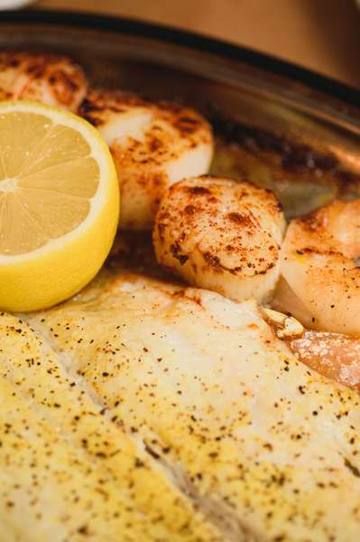 broiled fish and scallops