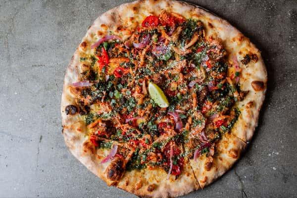 thai pork pizza