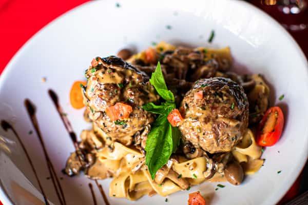 Pasta and handmade meatballs