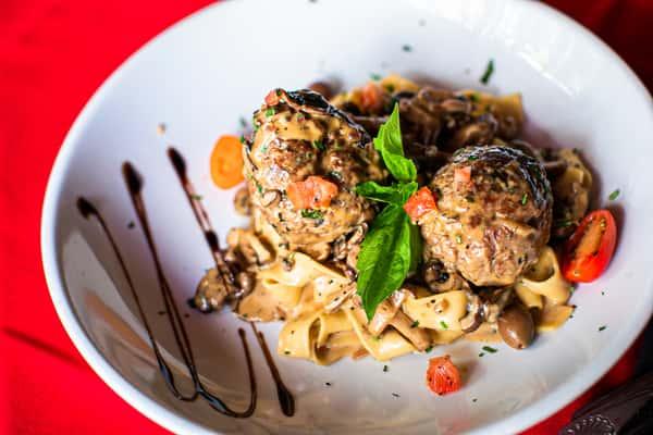 Pasta and Handmade Meatballs alla Marsala