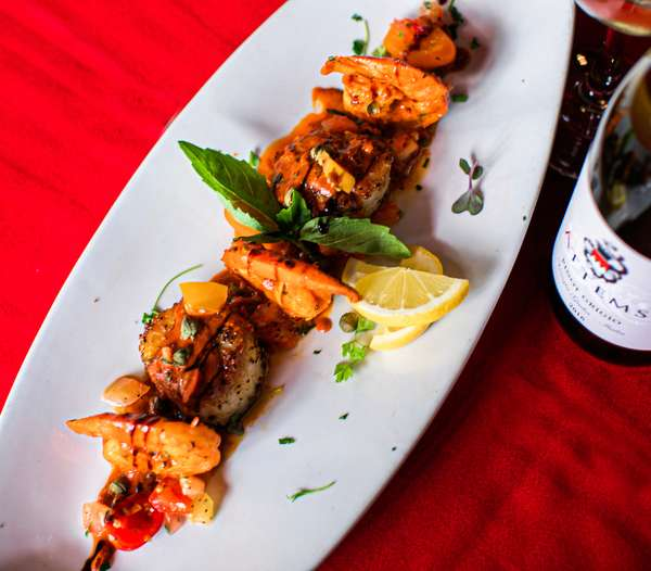 Grilled prawns and scallops