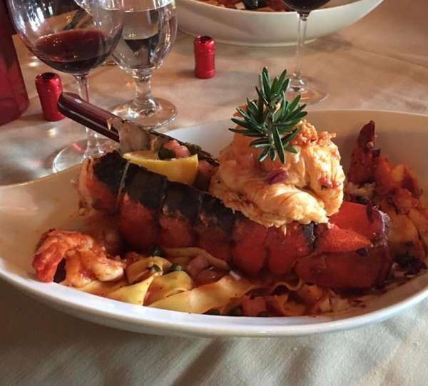 Lobster with wide noodles