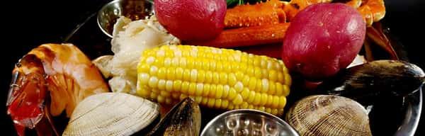 raw seafood with corn