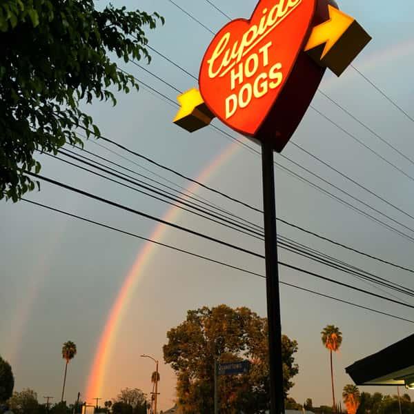 Cupid's sign with rainbow