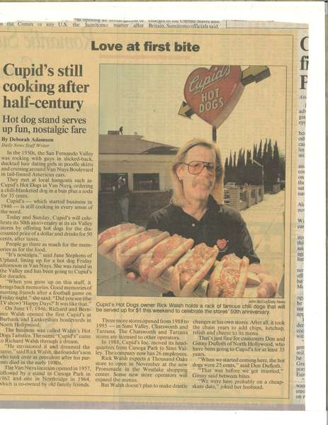 News paper clipping about Cupid's