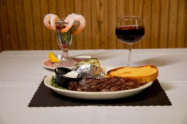steak shrimp wine