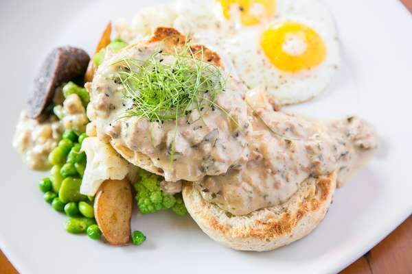 Sharp Cheddar Buttermilk Biscuits with House Made Sage-Garlic Sausage Gravy