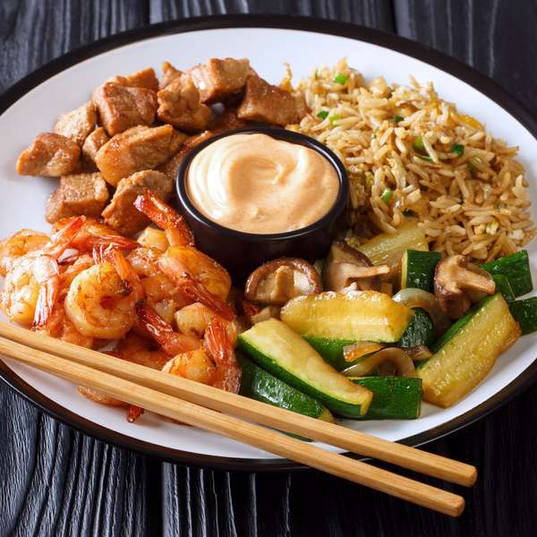 plate of veggies and shrimp