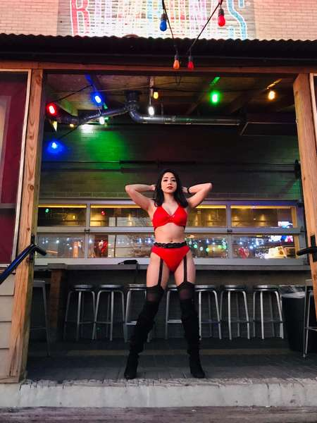 Girl in red lingerie