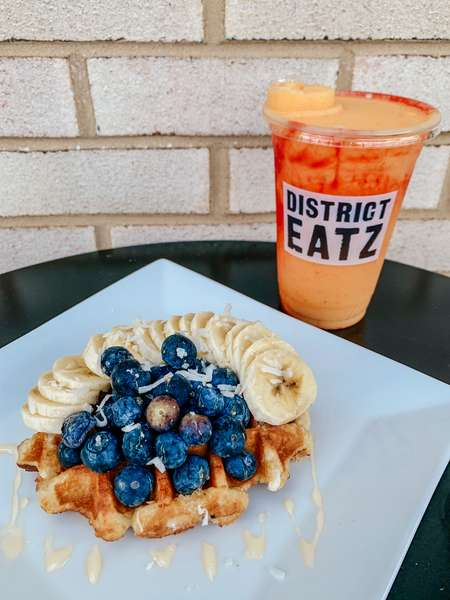 Waffles and smoothie