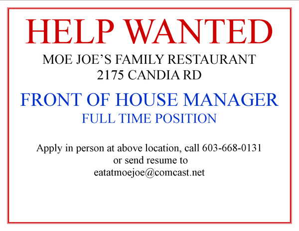 HELP WANTED !!  FRONT OF HOUSE MANAGER
