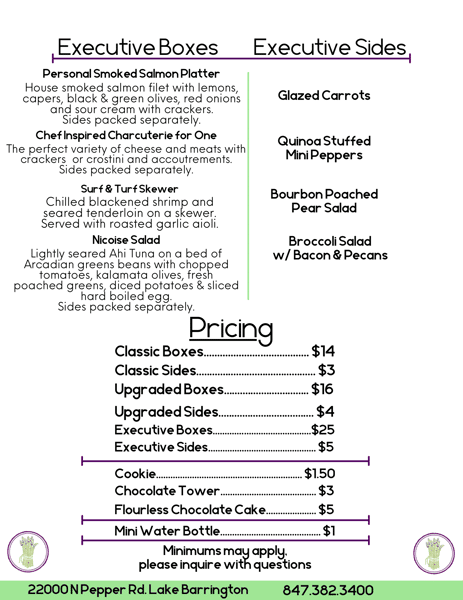 Box Meal Menu