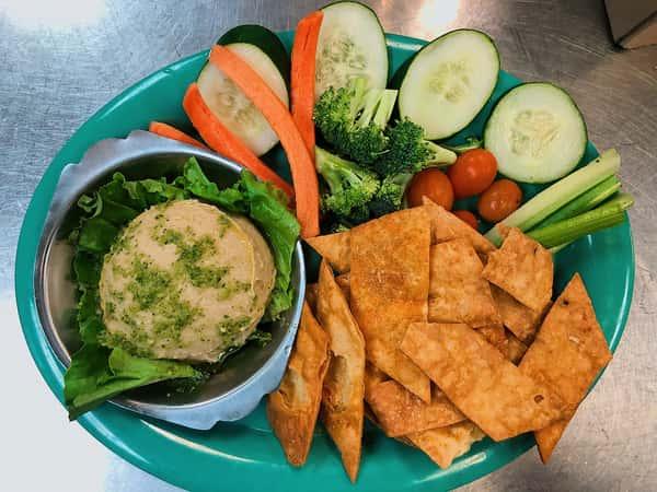 Homemade Hummus Plate with Chips & Veggies